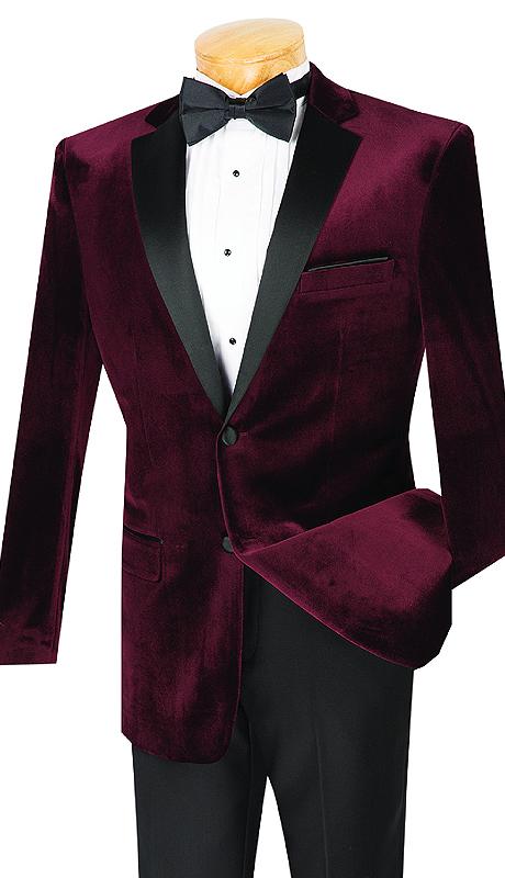 Vinci Mens Suit T-SV-WI ( 2pc Single Breasted Velvet, Two Buttons, Tuxedo, Side Vents, Flat Front Pants )