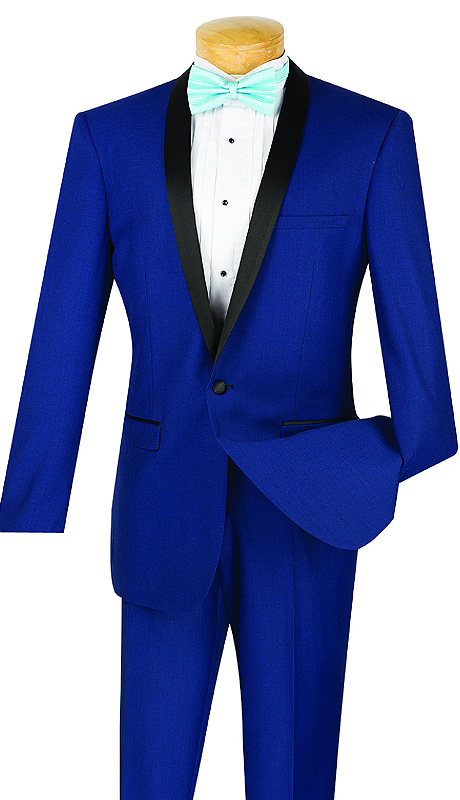 Vinci Mens Suit T-SS-BLU ( 2pc Single Breasted, Two Buttons, Narrow Shawl Collar, Side Vents, Flat Front Pants )