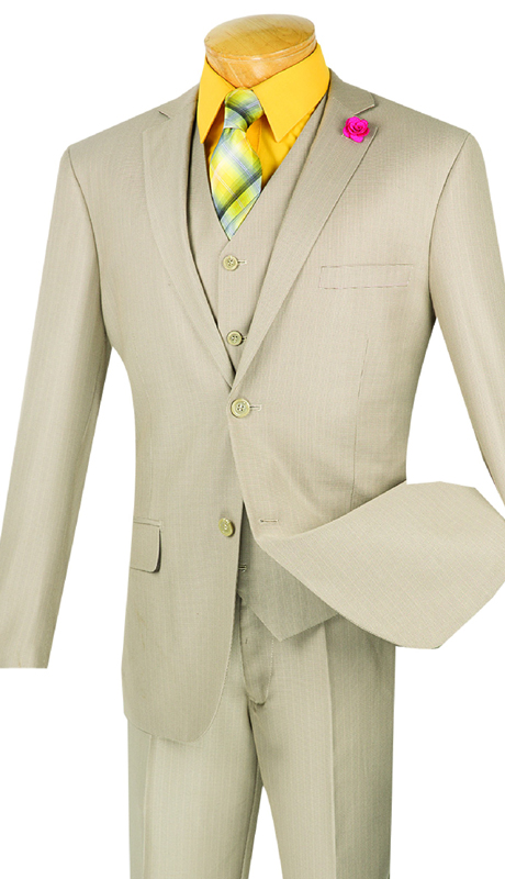 Vinci Mens Suit SV2R-3-BE ( 3pc Single Breasted, Two Buttons, With Vest, Side Vents, Flat Front Pants, Solid Texture )