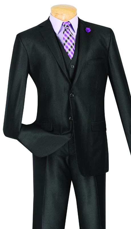 Vinci Mens Suit SV2R-3-BLK ( 3pc Single Breasted, Two Buttons, With Vest, Side Vents, Flat Front Pants, Solid Texture )