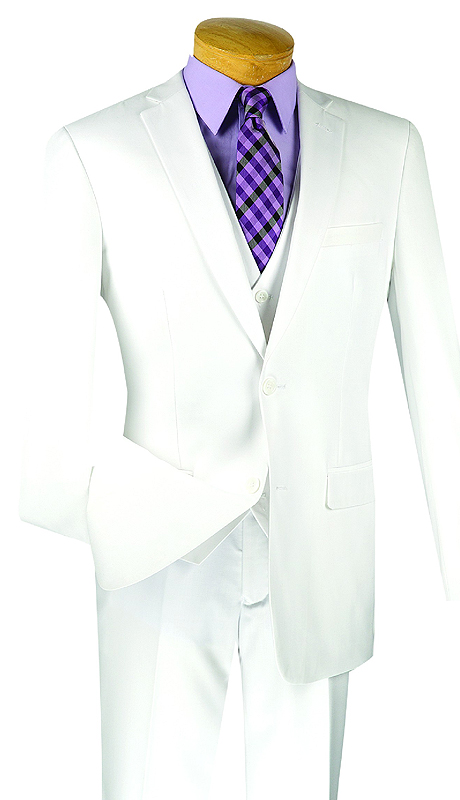 Vinci Mens Suit SV2900-WHT ( 3pc Single Breasted, Two Buttons, With Vest, Side Vents, Flat Front Pants, Solid Color )
