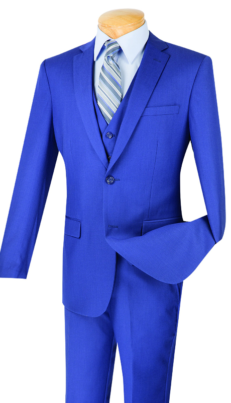 Vinci Mens Suit SV2900-IN ( 3pc Single Breasted, Two Buttons, With Vest, Side Vents, Flat Front Pants, Solid Color )