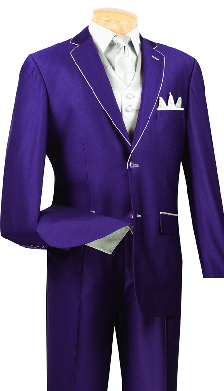 Vinci Mens Suit 23SS-4-PS ( 5pc Single Breasted Two Buttons, Trimmed Jacket With Fancy Vest, Flat Front Pants )
