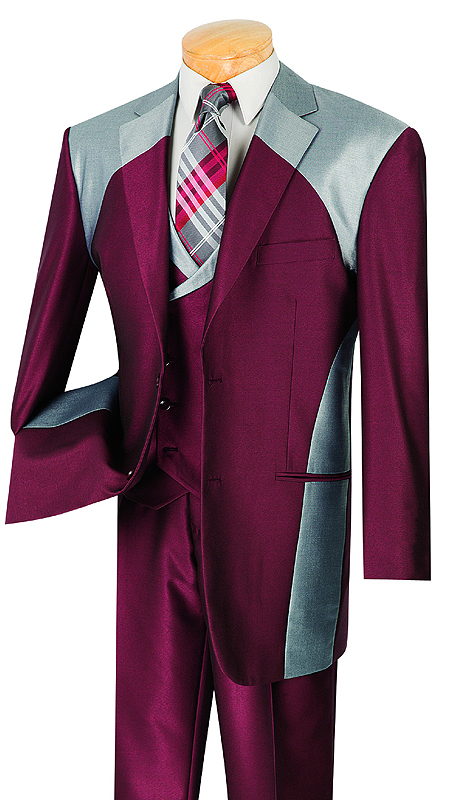 Vinci Mens Suit 23CV-1-MAR ( 3pc Single Breasted With Fancy Vest, Two Buttons, Side Vents, Pleated Pants, Shark Skin )
