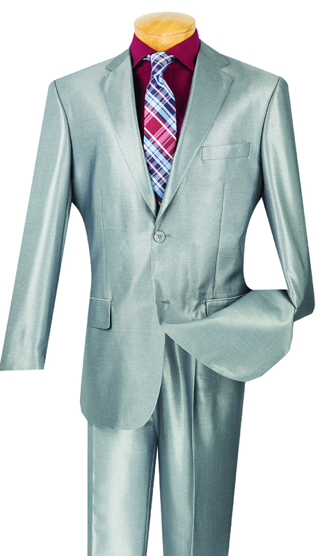 Vinci Mens Suit 2SK-1-GR ( 2pc Single Breasted, Two Buttons, Side Vents , Single Pleated Pants, Shark Skin )