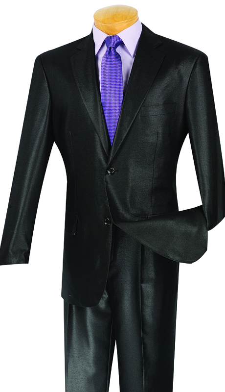 Vinci Mens Suit 2SK-1-BLK ( 2pc Single Breasted, Two Buttons, Side Vents , Single Pleated Pants, Shark Skin )