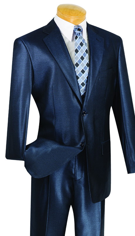 Vinci Mens Suit 2SK-1-MB ( 2pc Single Breasted, Two Buttons, Side Vents , Single Pleated Pants, Shark Skin )