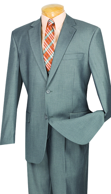 Vinci Mens Suit 2TR-GR ( 2pc Single Breasted Two Buttons, Side Vents, Single Pleated Pants, Pure Solid )