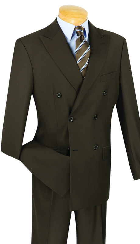 Vinci Mens Suit DC900-1-BR ( 2pc Double Breasted, 6x2, Side Vents, Pleated Pant, Solid Color )