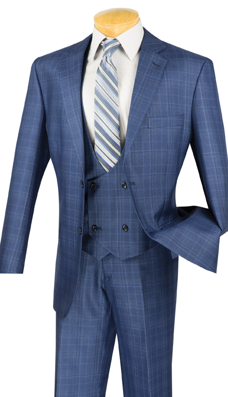 Vinci Mens Suit V2RW-7-OB ( 2pc Single Breasted With Vest, Two Buttons, Side Vents, Flat Front Pants )