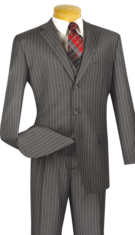 Vinci Mens Suit V3RS-9-MG ( 3pc Single Breasted, Three Buttons,  Side Vents, Pleated Pants, Banker Stripe )
