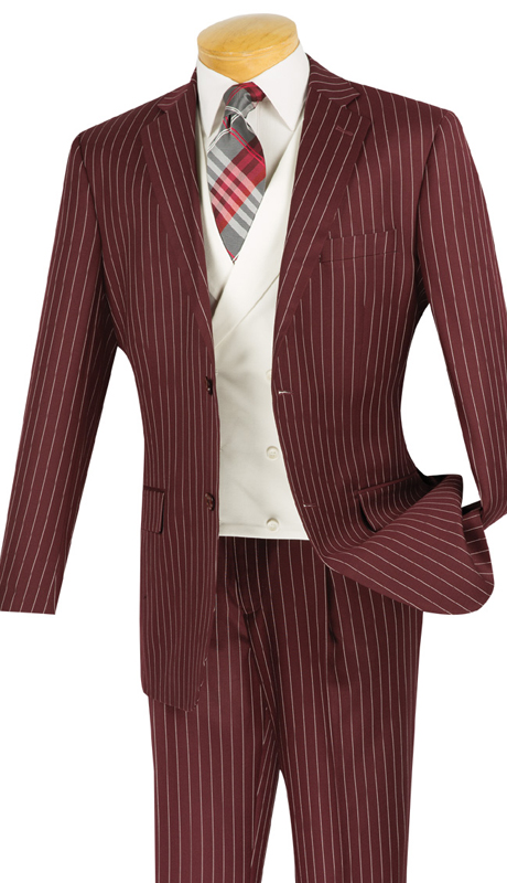 Vinci Mens Suit V2RS-6-BUR ( 3pc Single Breasted, Two Buttons, With White Vest, Side Vents, Single Pleated Pants )
