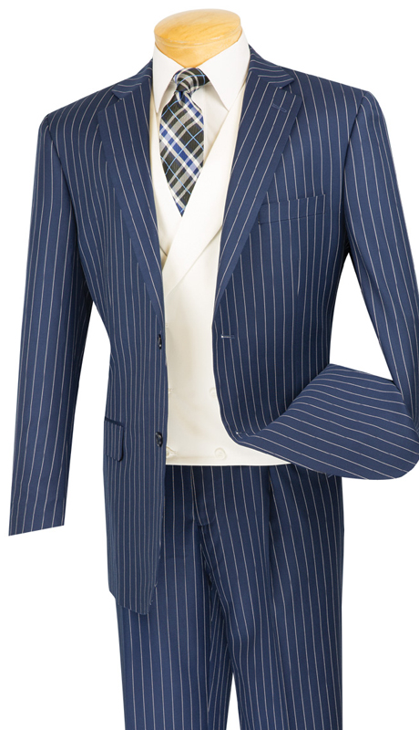Vinci Mens Suit V2RS-6-BLU ( 3pc Single Breasted, Two Buttons, With White Vest, Side Vents, Single Pleated Pants )