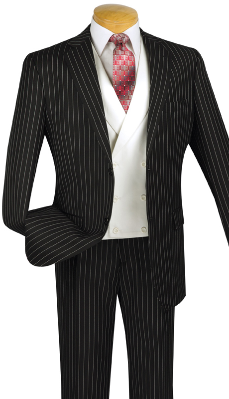 Vinci Mens Suit V2RS-6-BLK ( 3pc Single Breasted, Two Buttons, With White Vest, Side Vents, Single Pleated Pants )