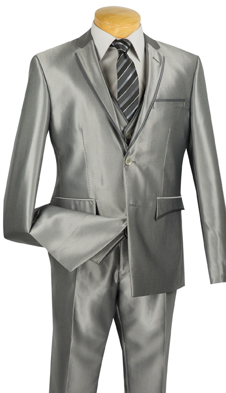 Vinci Mens Suit USVR-4-GR ( 3pc Single Breasted, Two Buttons, Center Vent, Flat Front Pants, SharkSkin )