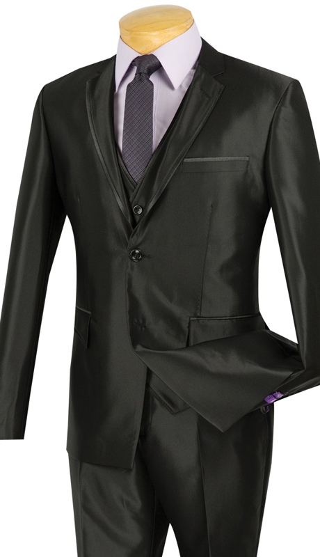 Vinci Mens Suit USVR-4-BLK ( 3pc Single Breasted, Two Buttons, Center Vent, Flat Front Pants, SharkSkin )