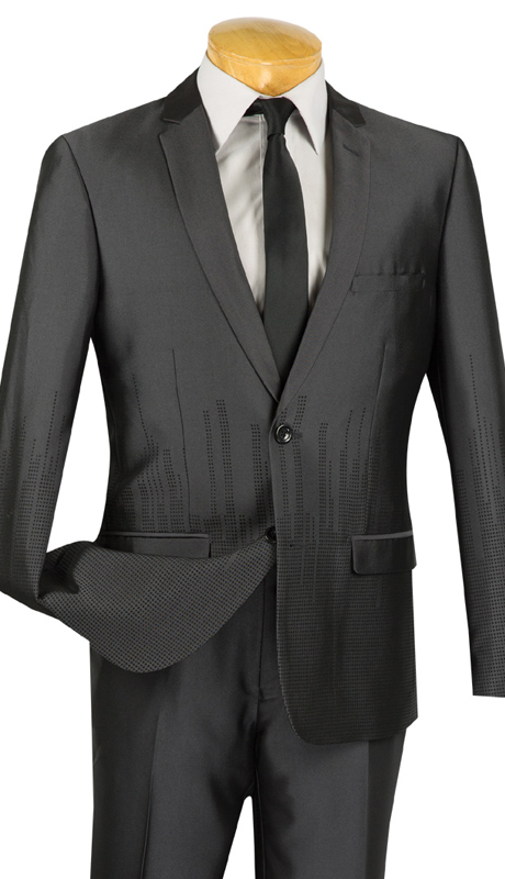 Vinci Mens Suit USNY-1-CHA ( 2pc Single Breasted, Two Buttons, Side Vents, Flat Front Pants, SharkSkin )