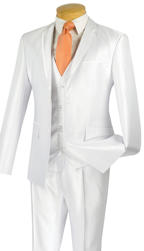 Vinci Mens Suit USVR-4-WHT ( 3pc Single Breasted, Two Buttons, Center Vent, Flat Front Pants, SharkSkin )
