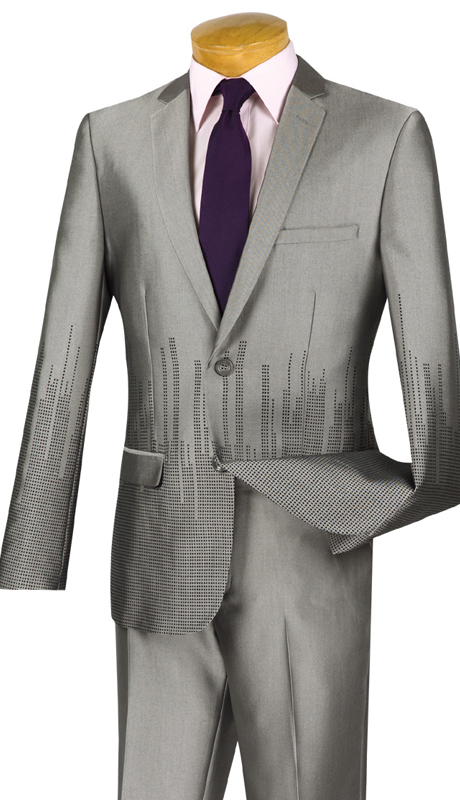 Vinci Mens Suit USNY-1-GR ( 2pc Single Breasted, Two Buttons, Side Vents, Flat Front Pants, SharkSkin )