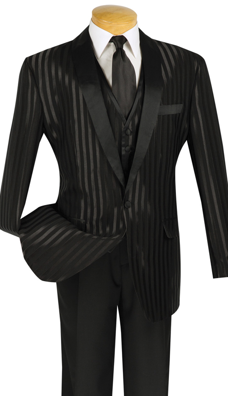 Vinci Mens Suit T-VTT-BLK ( 3pc Single Breasted, One Button, Vest, Side Vents, Single Pleated Pants )