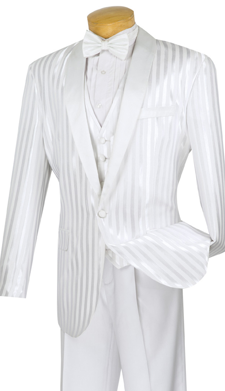 Vinci Mens Suit T-VTT-WHT ( 3pc Single Breasted, One Button, Vest, Side Vents, Single Pleated Pants )
