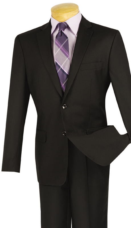 Vinci Mens BS-10-BLK ( 1pc Single Breasted, Two Buttons, Side Vents, Sport Coat )