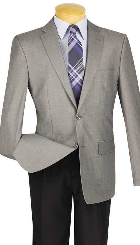 Vinci Mens BS-10-GR ( 1pc Single Breasted, Two Buttons, Side Vents, Sport Coat )