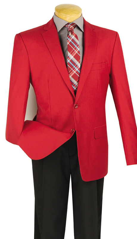 Vinci Mens BS-10-RE ( 1pc Single Breasted, Two Buttons, Side Vents, Sport Coat )