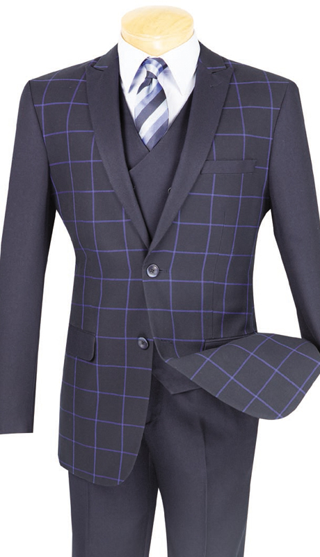 Vinci Mens Sport Coat BS-09-BLU ( 1pc Single Breasted, Two Buttons, Side Vents )