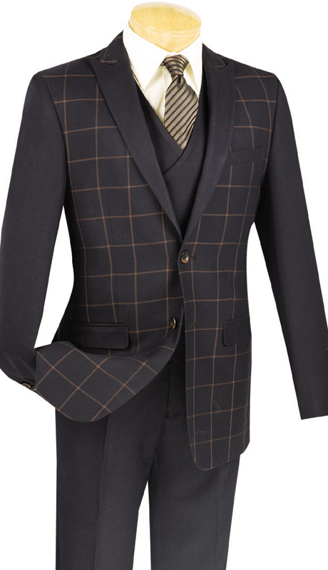 Vinci Mens Sport Coat BS-09-BLK ( 1pc Single Breasted, Two Buttons, Side Vents )