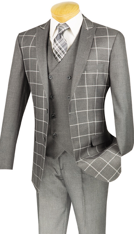 Vinci Mens Sport Coat BS-09-GRY ( 1pc Single Breasted, Two Buttons, Side Vents )