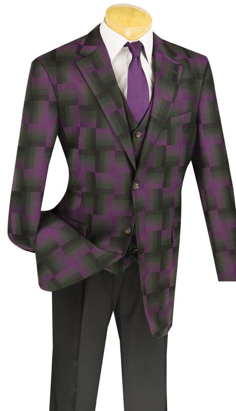 Vinci Mens Suit 23WP-2-PUR ( 3pc Single Breasted, Two Buttons, Side Vents, Pleated Pants )