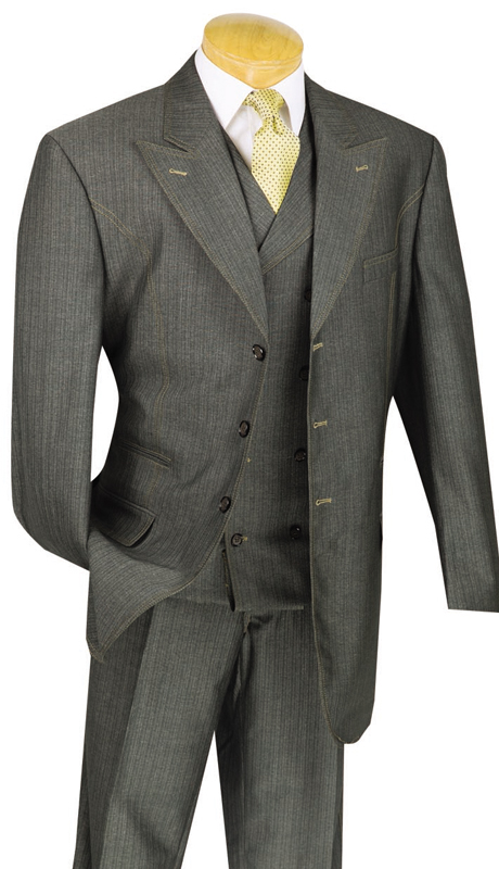 Vinci Mens Suit 33MS-1-BLK ( 3pc Single Breasted, Three Buttons, Side Vents, Pleated Pants, Denim Look )