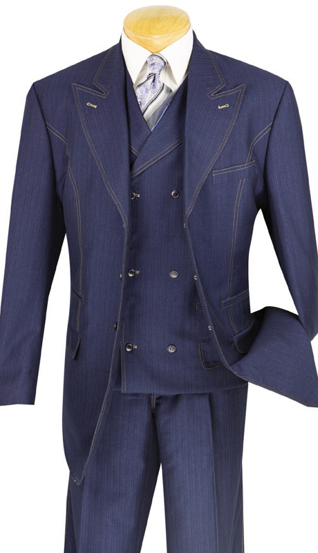 Vinci Mens Suit 33MS-1-BLU ( 3pc Single Breasted, Three Buttons, Side Vents, Pleated Pants, Denim Look )