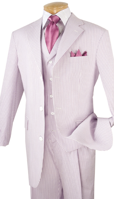 Vinci Mens Suit 33SS-8-LAV ( 3pc Single Breasted, Three Buttons, Side Vents, Pleated Pants, Striped SeerSucker )