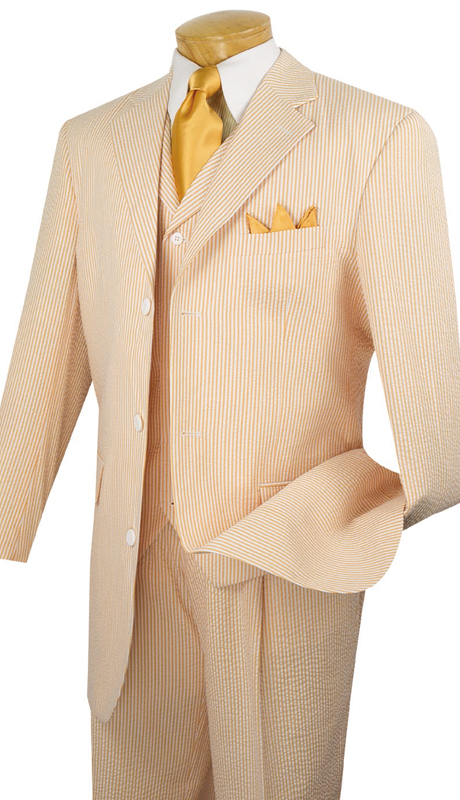 Vinci Mens Suit 33SS-8-PEA ( 3pc Single Breasted, Three Buttons, Side Vents, Pleated Pants, Striped SeerSucker )