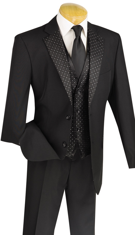 Vinci Mens Suit 23PD-2-BLK ( 3pc Single Breasted, Two Buttons, Trimmed Lapel, Side Vents, Vest, Single Pleated Pants )