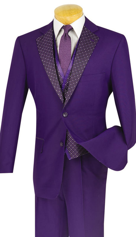 Vinci Mens Suit 23PD-2-PUR ( 3pc Single Breasted, Two Buttons, Trimmed Lapel, Side Vents, Vest, Single Pleated Pants )
