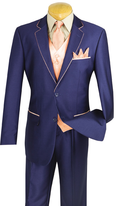 Vinci Mens Suit 23SS-4-BP ( 5pc Single Breasted Two Buttons, Trimmed Jacket With Fancy Vest, Flat Front Pants )