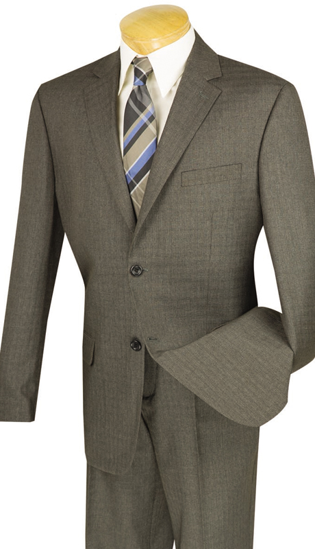 Vinci Mens Suit 2WK-1-BR ( 2pc Single Breasted, Two Buttons, Side Vents, Flat Front Pants )
