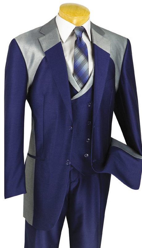Vinci Mens Suit 23CV-1-BLU ( 3pc Single Breasted With Fancy Vest, Two Buttons, Side Vents, Pleated Pants, Shark Skin )