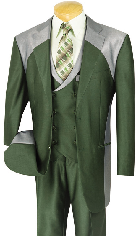 Vinci Mens Suit 23CV-1-OL ( 3pc Single Breasted With Fancy Vest, Two Buttons, Side Vents, Pleated Pants, Shark Skin )