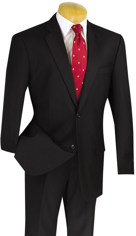 Vinci Mens Suit 2W100-BLK ( 2pc 100% Wool, Single Breasted, Two Buttons, Side Vents, Flat Front Pants, Solid Color)