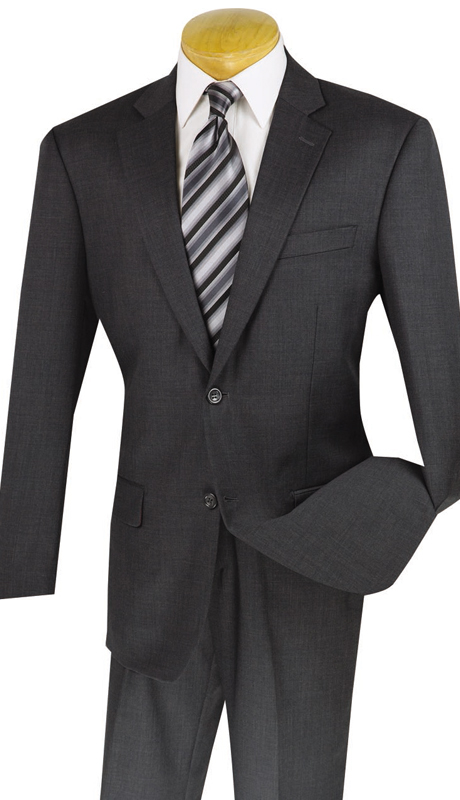 Vinci Mens Suit 2W100-CHA ( 2pc 100% Wool, Single Breasted, Two Buttons, Side Vents, Flat Front Pants, Solid Color)