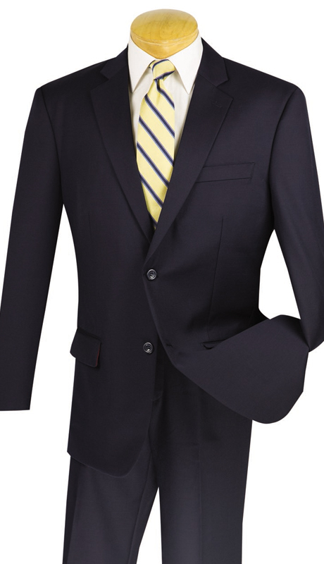 Vinci Mens Suit 2W100-NA ( 2pc 100% Wool, Single Breasted, Two Buttons, Side Vents, Flat Front Pants, Solid Color)
