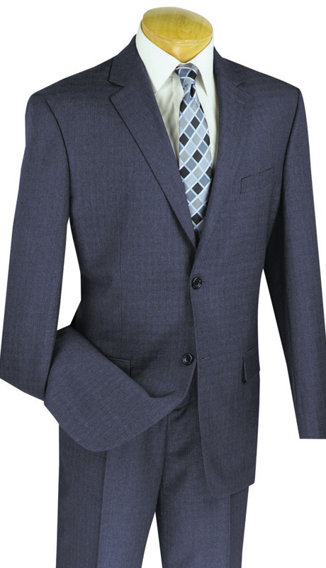 Vinci Mens Suit 2WK-1-BLU ( 2pc Single Breasted, Two Buttons, Side Vents, Flat Front Pants )