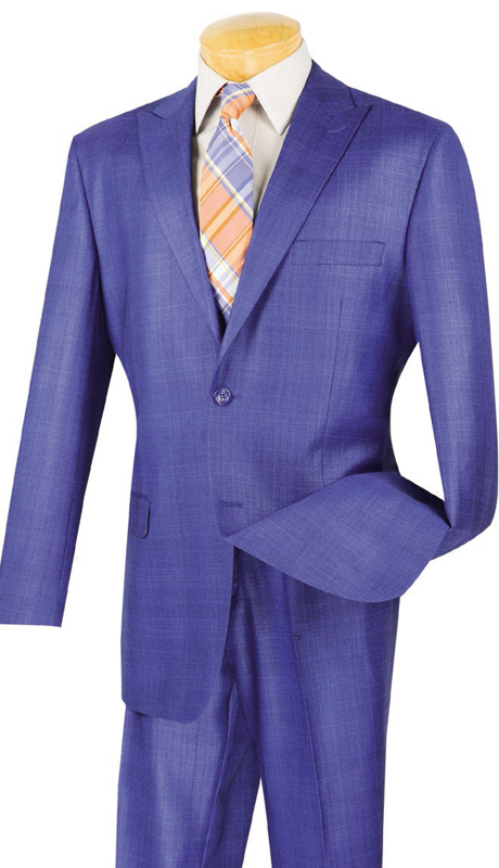 Vinci Mens Suit 2RW-1-BLU ( 2pc Single Breasted, Two Buttons, Peak Lapel, Side Vents, Flat Front Pants, Glen Plaid )