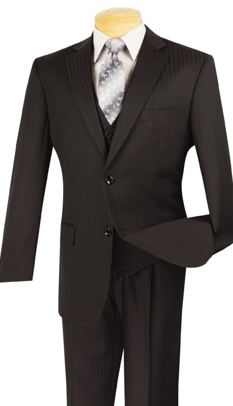 Vinci Mens Suit V2TT-8-BLK ( 3pc Single Breasted, Two Buttons, Side Vents, Vest, Single Pleated Pants, Tone On Tone Stripe )