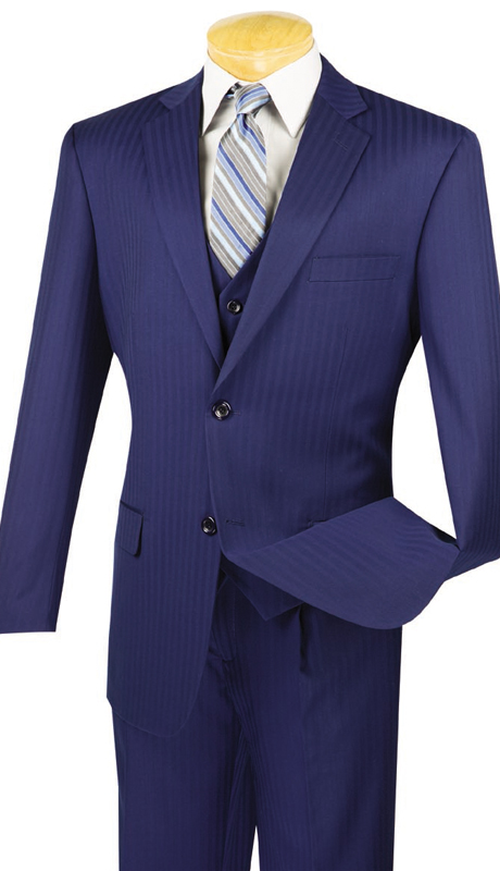 Vinci Mens Suit V2TT-8-BLU ( 3pc Single Breasted, Two Buttons, Side Vents, Vest, Single Pleated Pants, Tone On Tone Stripe )