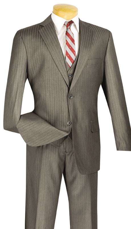 Vinci Mens Suit V2TT-8-MG ( 3pc Single Breasted, Two Buttons, Side Vents, Vest, Single Pleated Pants, Tone On Tone Stripe )